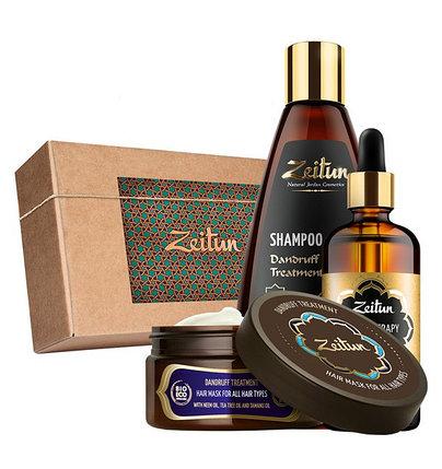 Подарочный набор «Натуральный комплекс против перхоти и зуда» шампунь, маска и легкосмываемое масло Zeitun (Иордания), фото 2