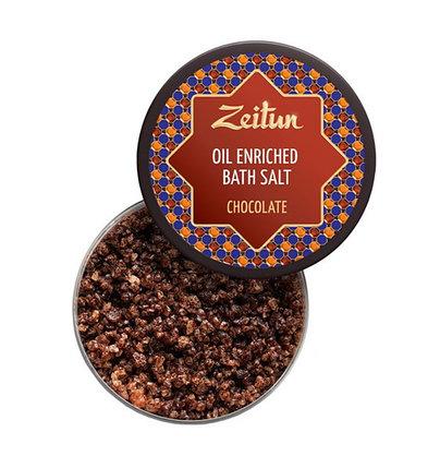 Шоколадная ароматическая соль для ванн с маслом плодов какао и ванилью Zeitun (250 мл, Иордания), фото 2