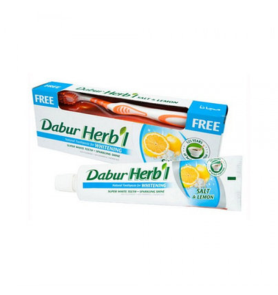 Зубная паста Dabur herbal whitening salt & lemon + зубная щетка, фото 2