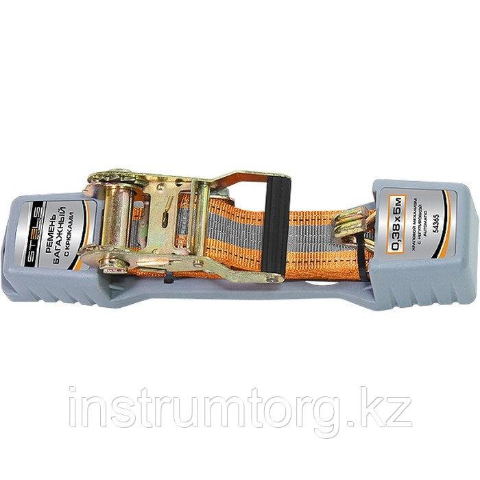 Ремень багажный с крюками, 0,38х5м, храповый механизм Automatic// STELS