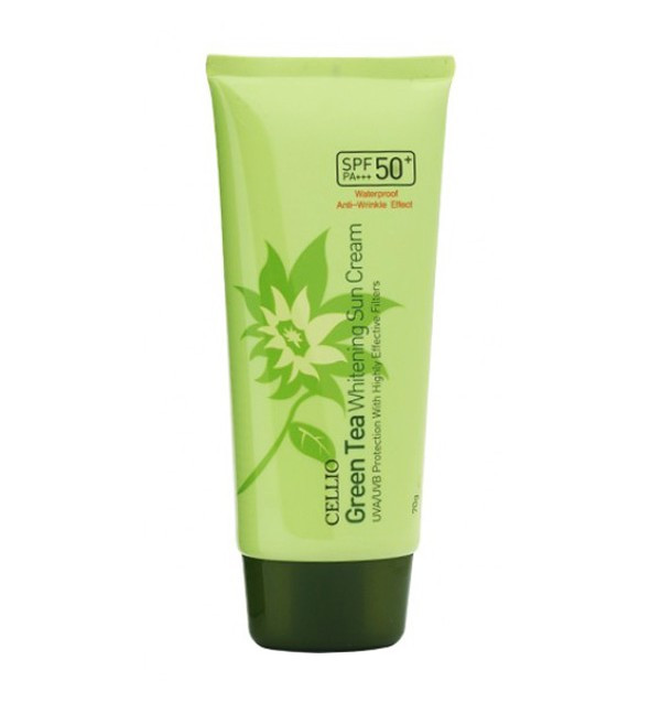 Солнцезащитный крем с зеленым чаем Cellio Green Tea Whitening Sun Cream SPF50+/PA++++ (70 мл)