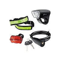 Набор велосипедный : передний и задний фонари Led, светоотражатель и тросовый замок, Stern