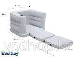 Надувное кресло раскладное 200x102x64 см + подушка, Bestway 75065