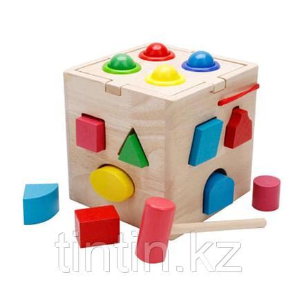 Деревянный развивающий куб-сортер со стучалкой, фото 2