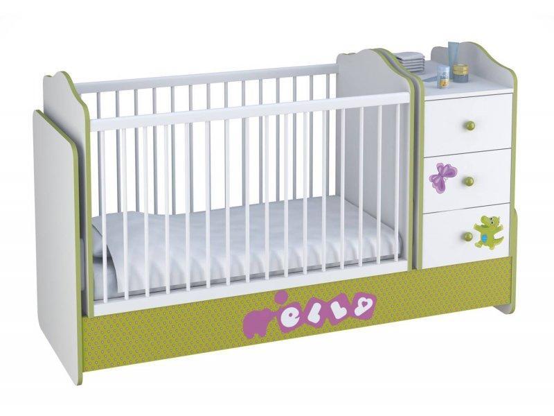 """Кроватка - трансформер Polini """"Elly"""", (белый-зеленый)"""
