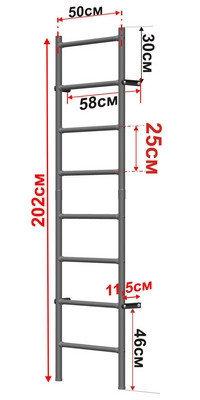 Шведская стенка 220 х 50 см (детская) Россия, фото 2