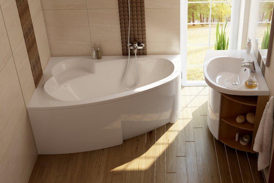 Ванна акриловая ассиметричная RAVAK ASYMMETRIC 170x110 L белая в комплекте