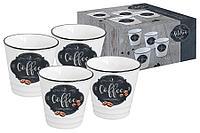 Набор из 4-х чашек для кофе Кухня в стиле Ретро в подарочной упаковке