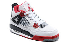 Баскетбольные кроссовки Nike Air Jordan 4 Retro бело-красные, фото 3