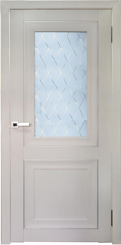 Межкомнатная дверь модель Аура ДО и ДГ дуб пепельный, белый ясень