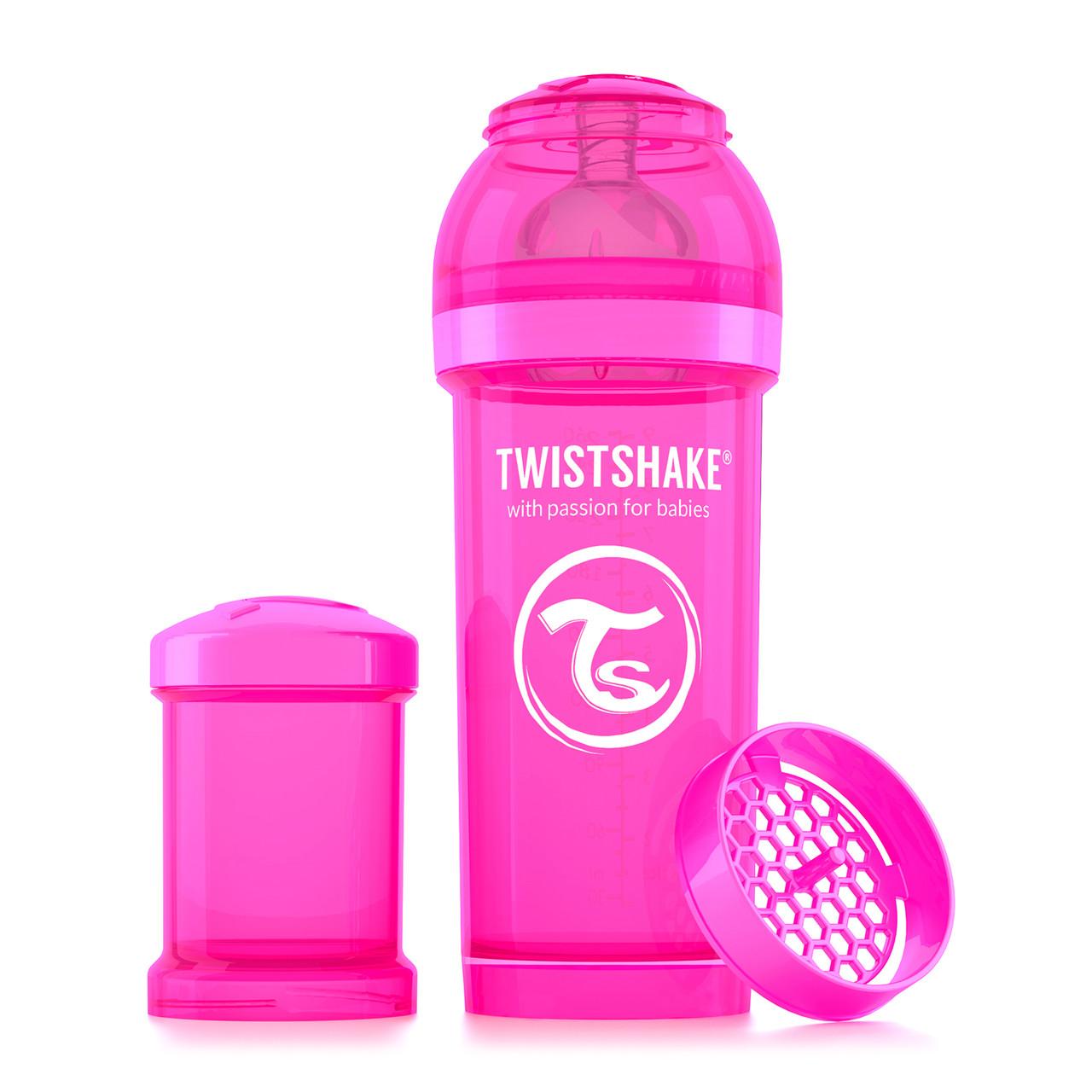 Антиколиковая бутылочка Twistshake для кормления 260 мл. Розовая (Crazymonkey)