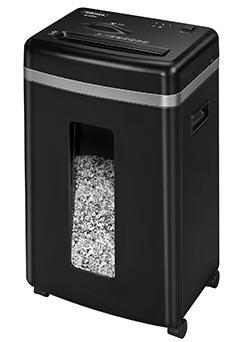Шредер Fellowes® MicroShred™ 450M, DIN P-5, 2х12мм, 9лст.,22лтр., уничт.: скобы, пл.карты, CD