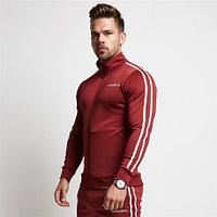 Спортивная куртка с полосками VQ красная 2XL