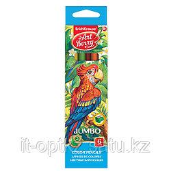 Коробка цветных карандашей трехгранных ArtBerry® Jumbo, 6 цветов с точилкой, ассорти