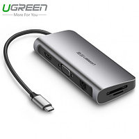 Конвертер USB 3.1(m) Type C на HDMI/LAN/VGA/CardReader/USB 3.0 HUB 3 port (40873) UGREEN