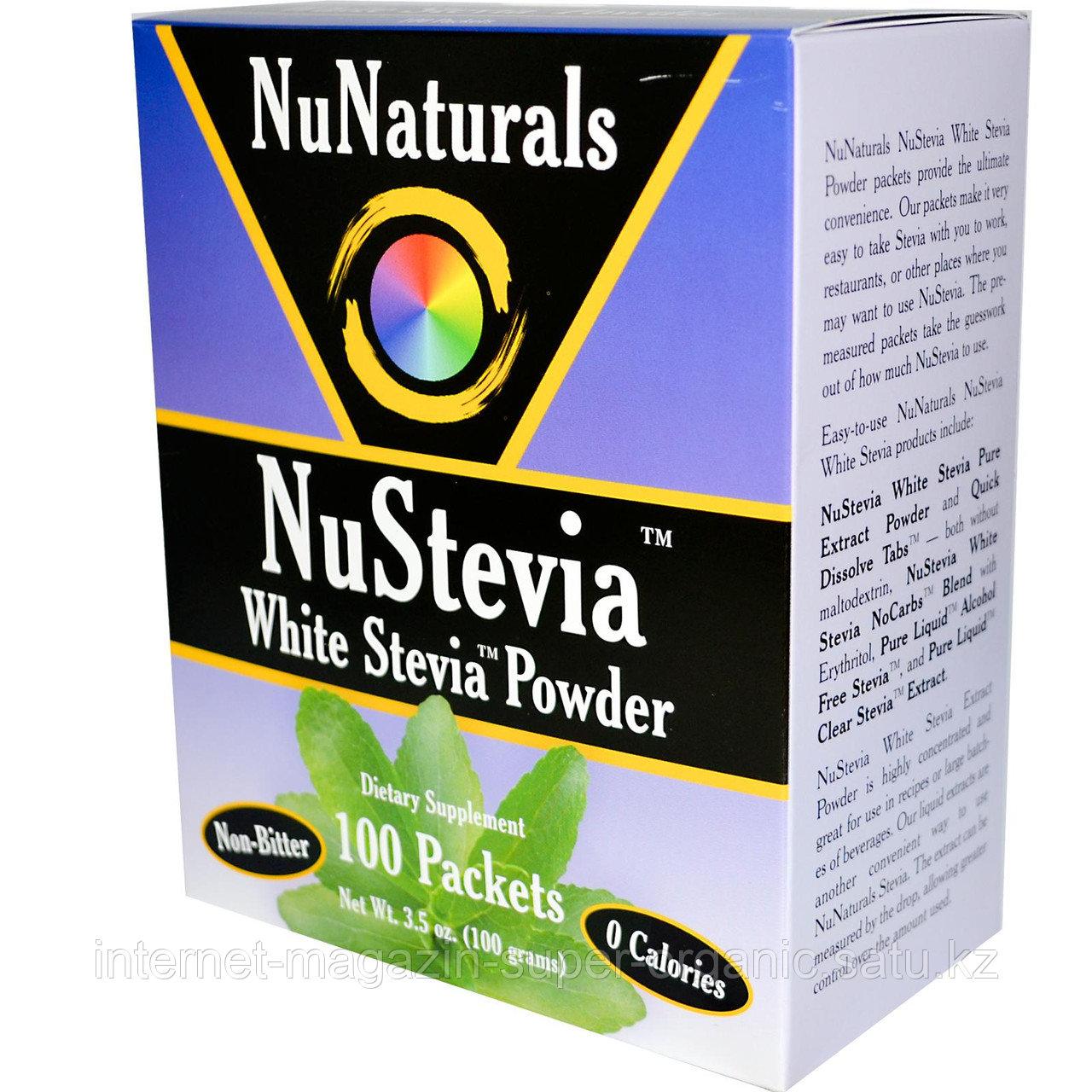 Стевия, подсластитель без калорий, 100 пакетиков в коробке, 100 г, NuNaturals