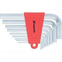 Набор ключей имбусовых HEX, 1,5–10 мм, CrV, 9 шт., коротких, с сатиновым покрытием, MATRIX