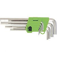 Набор ключей имбусовых HEX, 2–12 мм, 45X, закаленные, 9 шт., короткие, никель, СИБРТЕХ