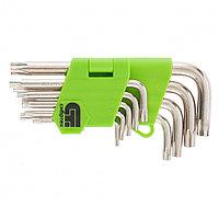 Набор ключей имбусовых TAMPER-TORX, 9 шт, T10-T50, 45X, закаленные, короткие, никель, СИБРТЕХ, фото 1