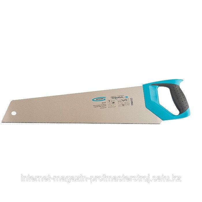 Ножовка по дереву PIRANHA, усиленное трапецевидное полотно, 500 мм, 11-12 TPI, зуб 3D, каленый зуб, 2-х комп. рукоятка, GROSS