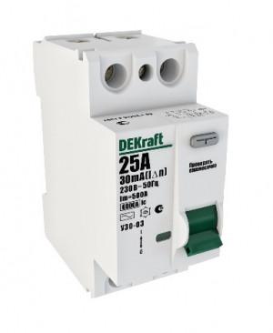 Автоматическое устройство защитного отключения АВДТ (ВД) 2P 32А 30мА 6кА DEKraft