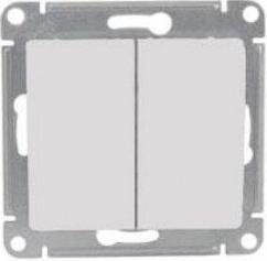 """Выключатель двойной с индикатором 10А с/у без рамки """"GLOSSA"""" белый (20) GSL153"""