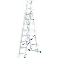 Лестница, 3x8 ступеней, алюминиевая, трехсекционная, СИБРТЕХ Россия