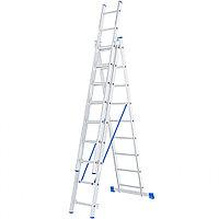 Лестница, 3x9 ступеней, алюминиевая, трехсекционная, СИБРТЕХ Россия