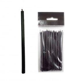 Свечи восковые чёрные набор 15 шт. по 10 см