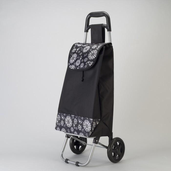 Сумка хозяйственная на колёсах «Цветы» , отдел на шнурке, цвет чёрный