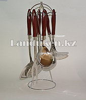 Набор кухонных аксессуаров Stainless Steel kitchenware 6 металлических предметов с подставкой