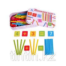 Счетные палочки в комплекте с магнитными цифрами, в железной банке, фото 2