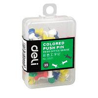Гвоздики для доски DELI, цветные, 35 штук в пластиковой коробочке