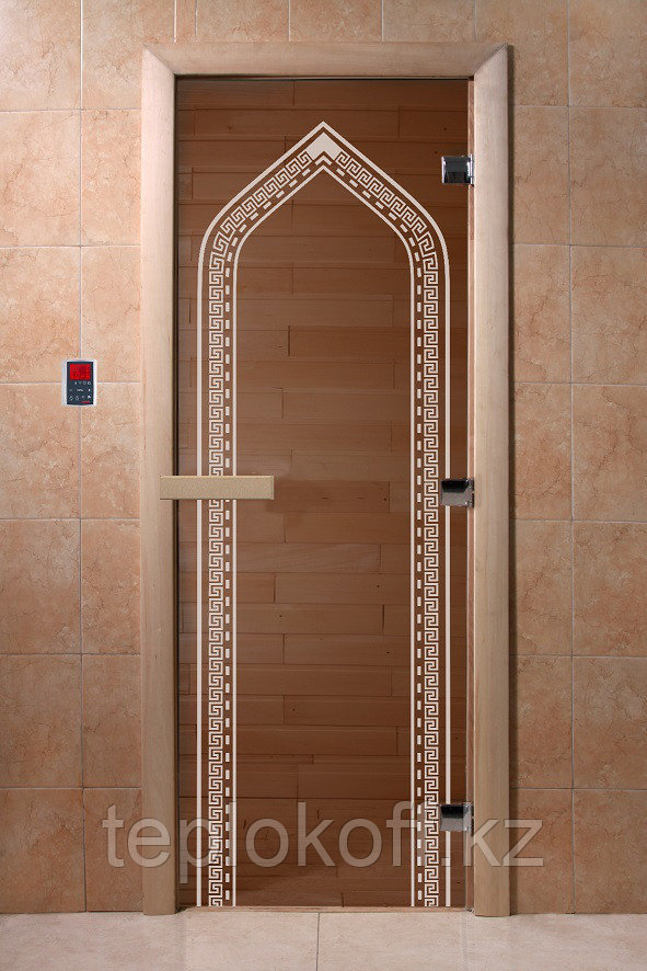 """Дверь стеклянная банная """"Арка"""", 3 петли,  стекло 8 мм, коробка Ольха"""