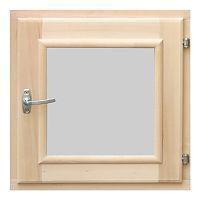 Форточка для бани деревянная со стеклопакетом 0,3х0,3 м с фурнитурой, ольха , Банный Эксперт