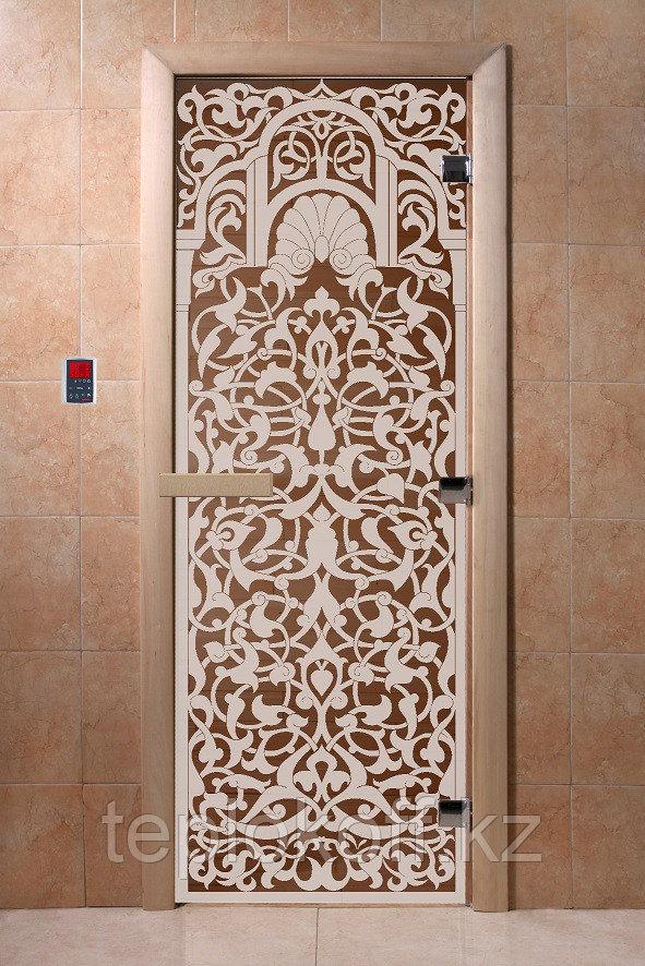 """Дверь стеклянная банная """"Флоренция"""", 3 петли,  стекло 8 мм, коробка Ольха"""