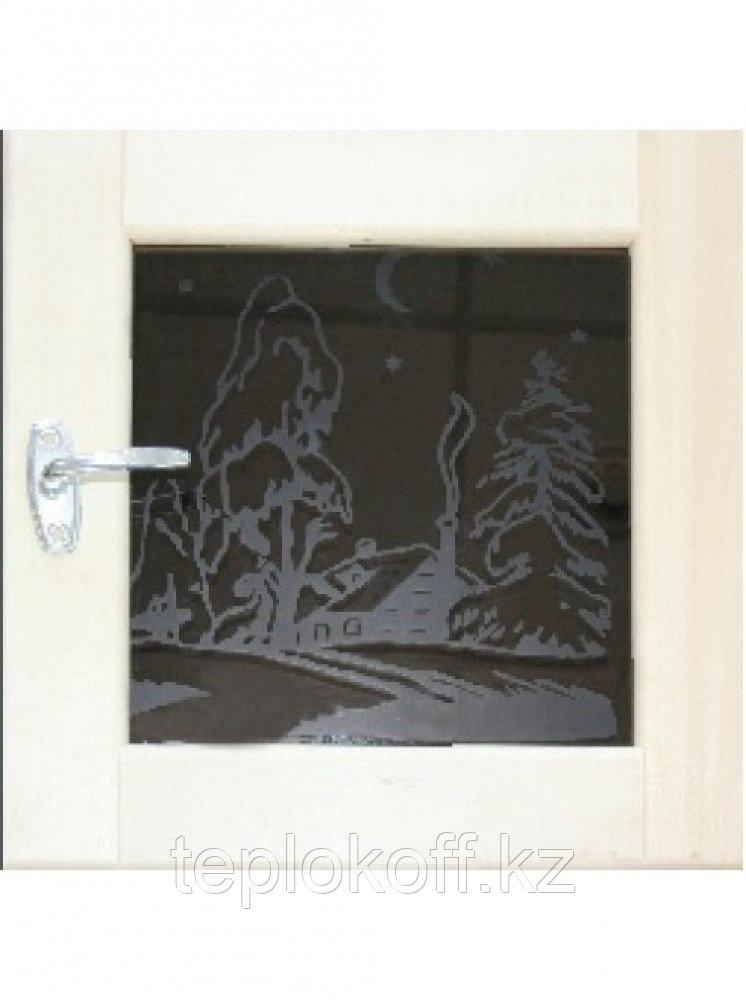 Форточка для бани деревянная ART со стеклом 8 мм 0,5х0,5 м с фурнитурой, Банный Эксперт