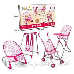 Коляска-трансформер для кукол Baby Play House 4 в 1