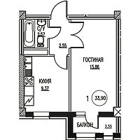 1 комнатная квартира в ЖК  Табысты  33,9 м², фото 1