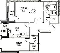 2 комнатная квартира в ЖК  Табысты  75.78 м², фото 1