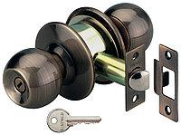 Дверная округлая ручка с ключами и замком, нерж. сталь