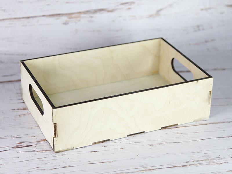 Деревянный ящик с вырезанными ручками без покраски 30*20*8,5 см.