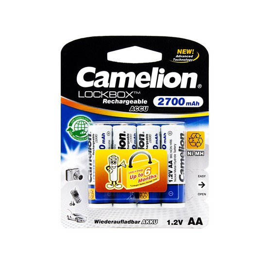Аккумулятор Camelion Lockbox Rechargeable, NH-AA2700LBP4, AA, 1.2V, 2700 mAh, 4 шт.