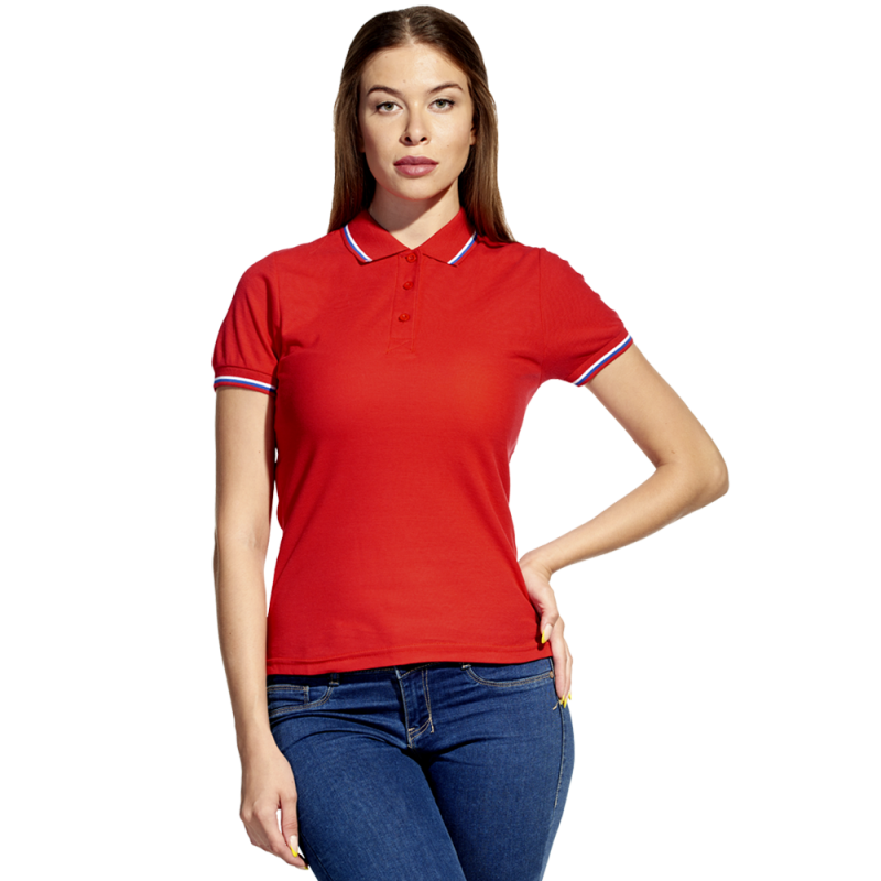 Женская рубашка поло  «триколор» StanRussianWomen 04WRUS Красный XS/42