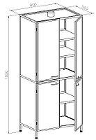Шкаф для химреактивов, дверцы двустворчатые верхние металл, нижние металл, полки металл, ц/м, 800х500х1800