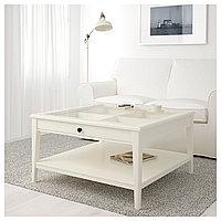 Журнальный стол  ЛИАТОРП белый стекло ИКЕА, IKEA , фото 1
