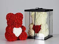 Мишка из роз 40см в подарочной упаковке