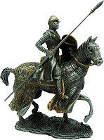 Статуэтка оловянный солдатик Wise Unicorn Рыцарь-крестоносец на коне с копьем, Высота: 105 мм, Материал: Оловя