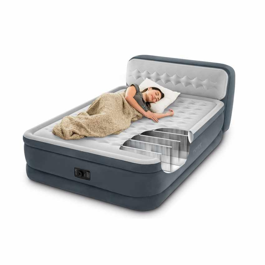 Надувная кровать 152х236х86см Ultra Plush Headboard Intex 64448