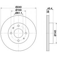 Тормозные диски  Nissan Sunny (N13,N14) (87-95,передние, Optimal,D240), фото 1